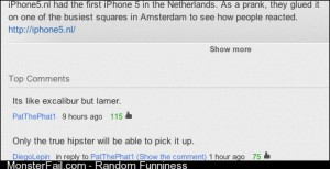 Youtube comment to the video of iPhone5 to the ground