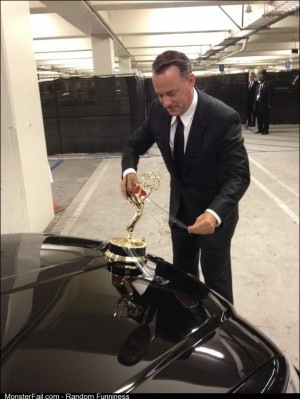 Tom Hanks taped his Emmy to his car and drove around with it