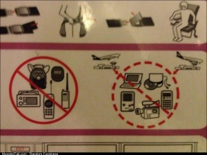You know on an old plane when you see this warning card infront of you