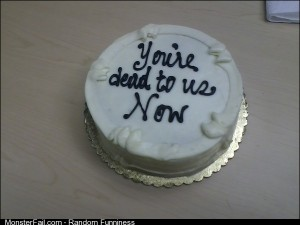 My farewell cake had this heartfelt message for me