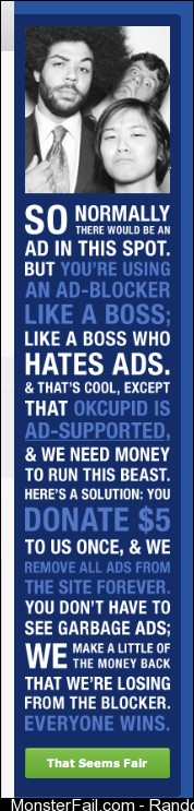 OK Cupid Handles Ad Blockers Like A Boss
