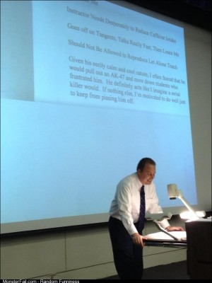 Professor reading his own teaching reviews to the class