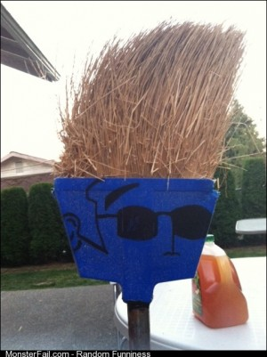 My friend decided that his broom looks like Johnny Bravo