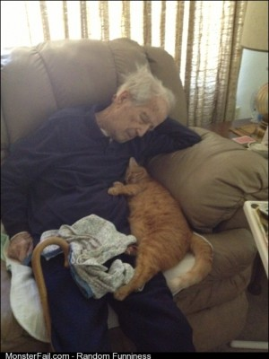 My 100 year old Grandpa and his 17 year old cat