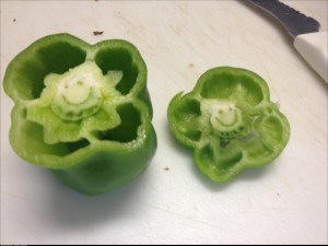 I was cutting green peppers when suddenly