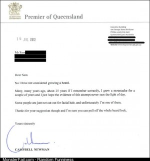 Premier of state replies to RE facial hair