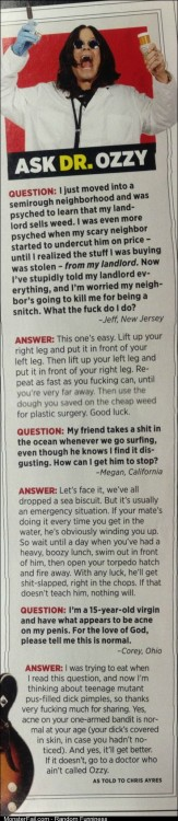 Ozzy Osbourne answers your questions