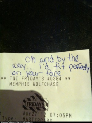 This was left on a receipt for a male waiter at TGI