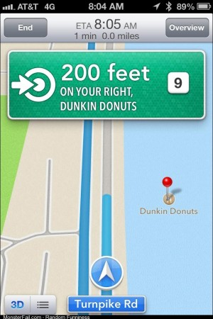 Yes Apple Maps I DID want to go to Donuts but I have a boat