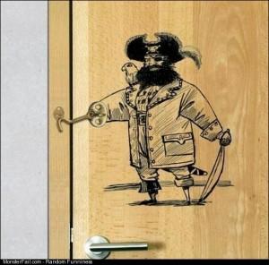 Door latch pirate design win