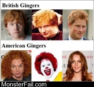 British Vs American Gingers