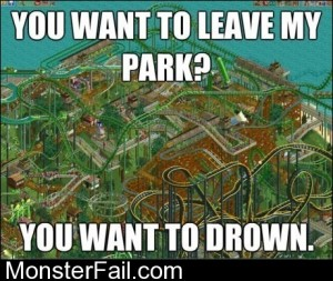 Playing Roller Coaster Tycoon