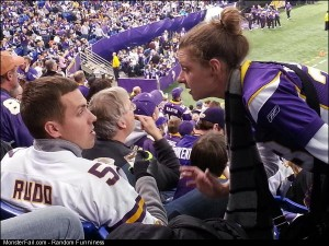 Drunk Vikings fan getting chewed out by his wife while eating ice cream with a credit card
