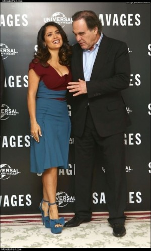 Oliver stone and salma hayek