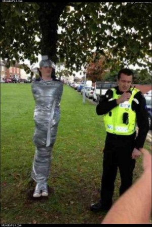 Duct taped to a tree