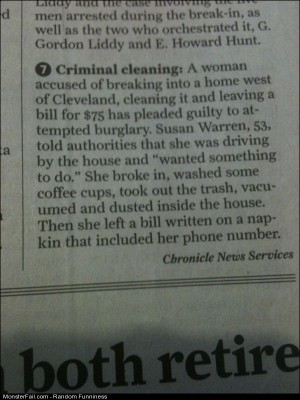 Funny Pics Criminal Cleaning