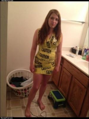 Caution tape dress