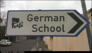 Monster Sign FAIL Halt German School