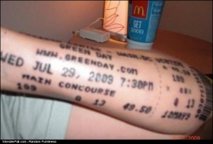 Tattoo FAIL Greenday Ticket