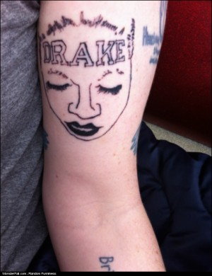Monster Tattoo FAIL Tattoo of the woman with the DRAKE tattoo on her forehead
