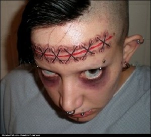 Monster Tattoo FAIL or He Got His Brain Removed