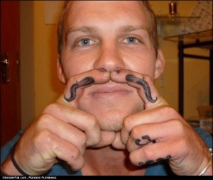 Tattoo FAIL Mustache For Every Finger