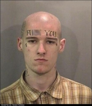 Monster Facial Tattoo FAIL He Must Work In Customer