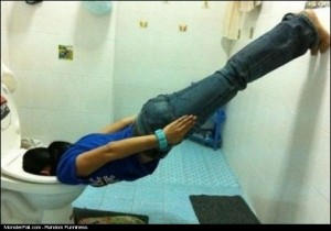 Monster Face In The Toilet Seat Planking FAIL