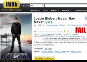 Justin Bieber Movie Monster Fail