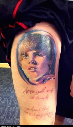 Extreme Justin Bieber Fan Tattoo FAIL Maybe Sometimes You SHOULD Say Never