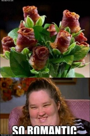 Romantic bacon roses