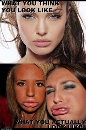 The duck face look