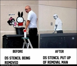 Graffiti Artist DS Mocking His Stencil Remover