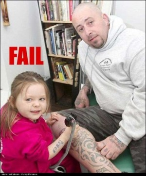 Monster Parenting FAIL A Little Girl Tattooing Her Father