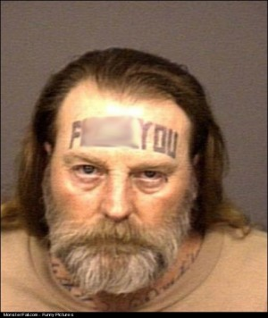 Monster Forehead Tattoo FAIL Y U SO MAD BRO