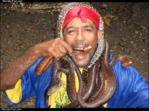 This guy loves snakes