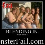 Fat girl fail at blending in.  You do not take pics with 4 other girls when you weight as much as them combined.  Fat Girl Fail!