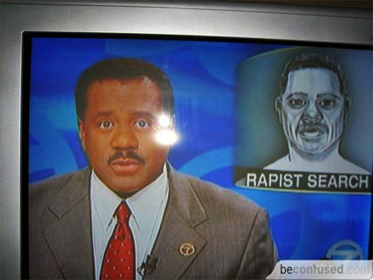 Channel 7 newscaster looking for rapist who looks just like him. LOL