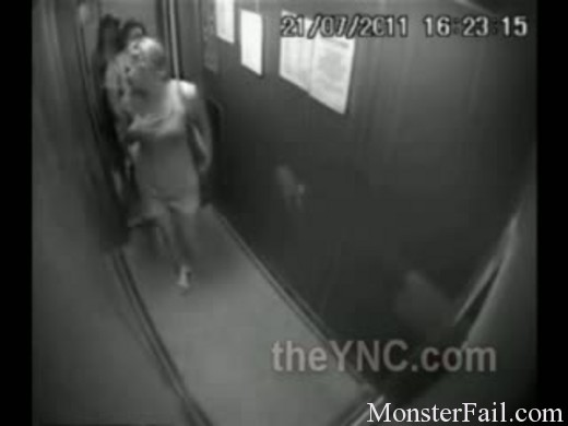 Nasty girls pee in elevator and don't realize that they are on camera.