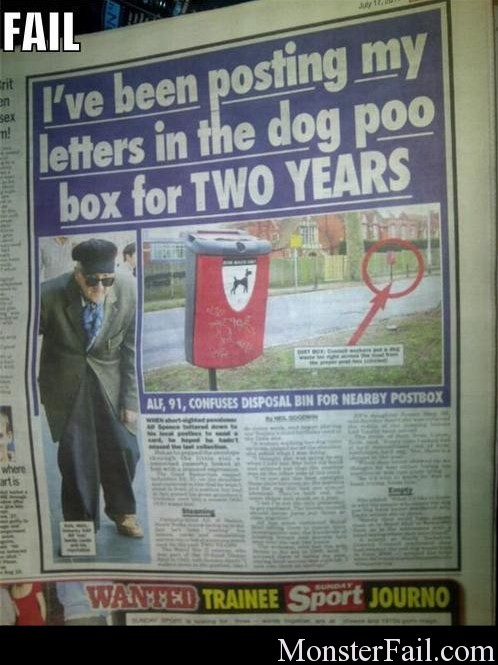 Man has been putting mail in a dog crap container he thought were mail boxes for 2 years.
