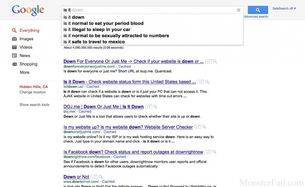 "Google ""is it"" search hint fail."