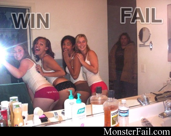 fitting in fail. fat girl left out of pic for obvious reasons.