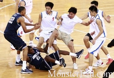 China vs USA (Georgetown) basketball fight.