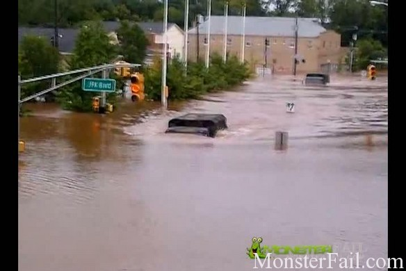 Army National Guard Truck Flood Rescue Fail.