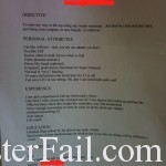 Resume Fail Or Win Depending On Your Point Of View