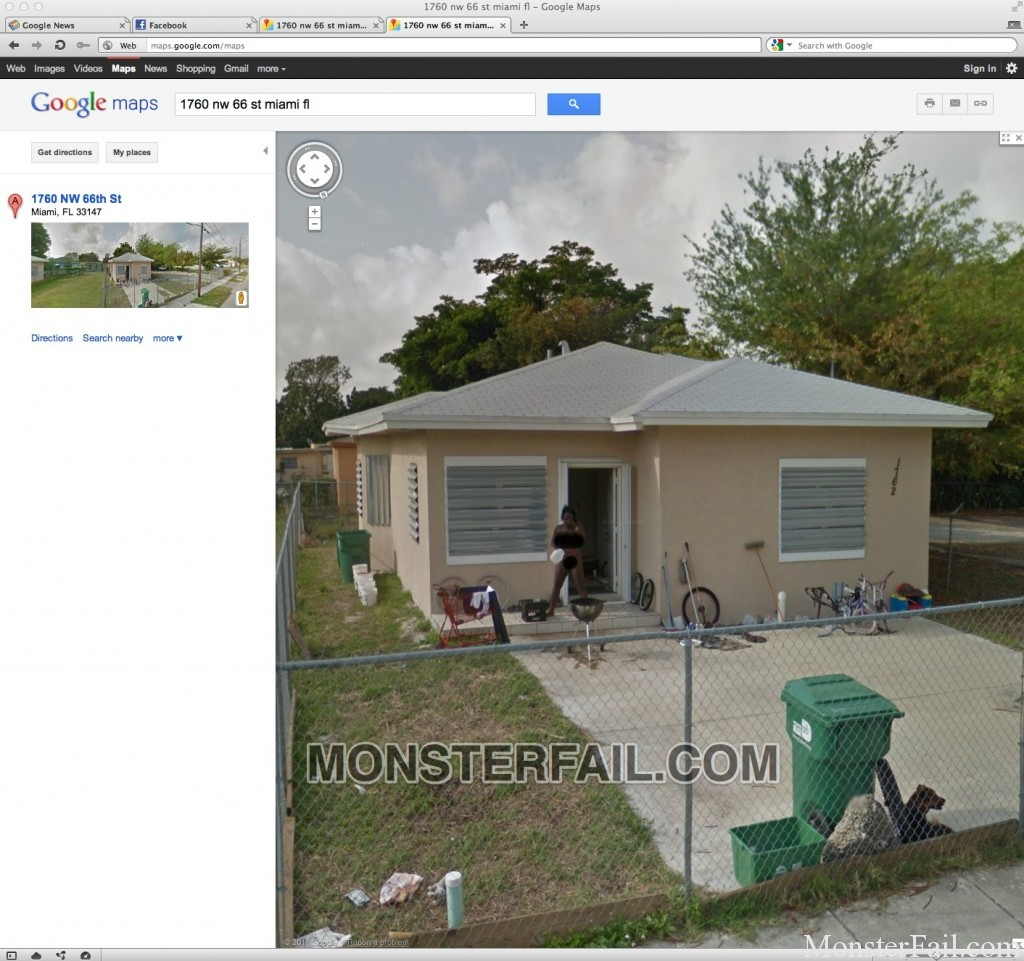 Google Maps Fail.  Florida Woman butt naked on her porch drinking water. 1760 nw 66 st miami fl