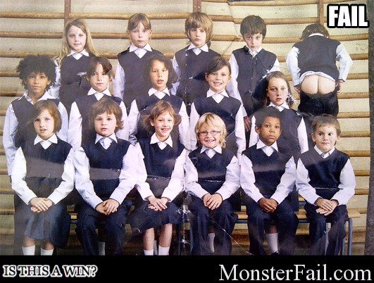 Kid mooning during class picture.  FAIL or WIN?