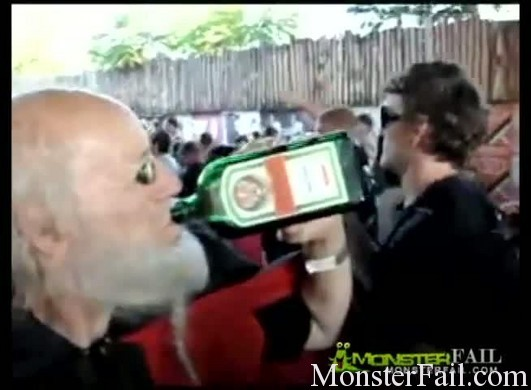 Crazy Jagermeister wizard goes nuts at an emo concert.