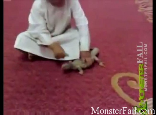 Pet lizard get revenge on arab boy.  LOL FAIL