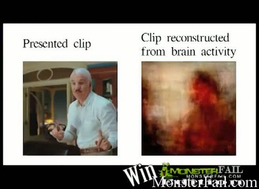 Blurry images taken from the human brain reveal movie clips just watched by test subjects.
